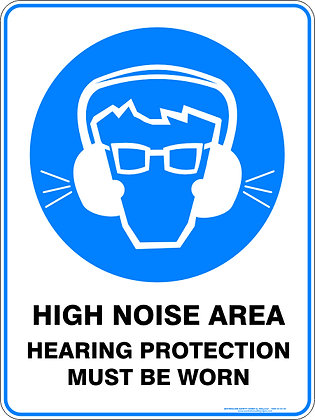 High Noise Area Hearing Protection Must Be Worn