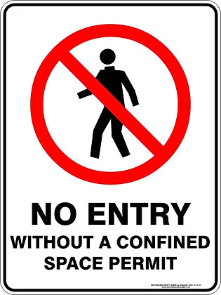 No Entry Without A Confined Space Permit Sign