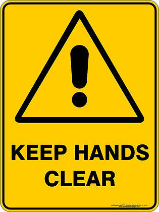 Keep Hands Clear Warning Sign