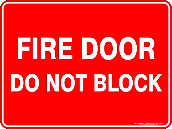 Fire Door Do Not Block Safety Sign