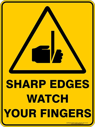 Sharp Edges Watch Your Fingers Warning Sign