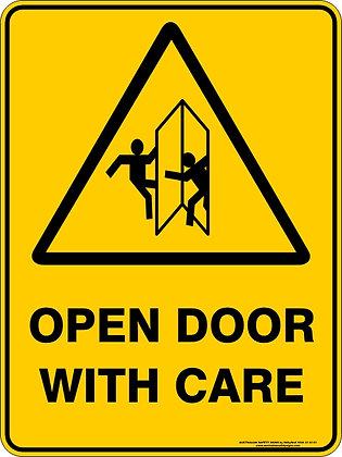 Open Door With Care Sign