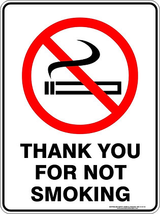 Thank You For Not Smoking Sign
