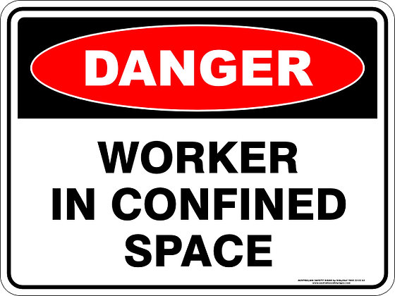 Worker In Confined Space Danger Sign