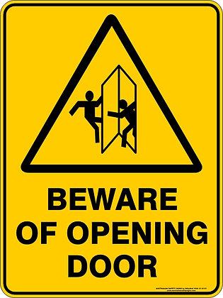 Beware of Opening Door Warning Sign