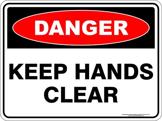 Keep Hands Clear Danger Sign