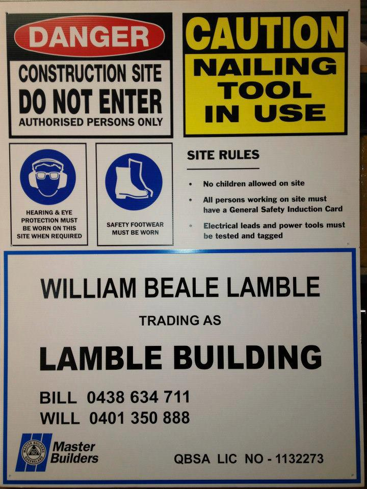 OWNER BUILDER SIGN SAFETY SIGN  600MM x 450mm 5mm corflute