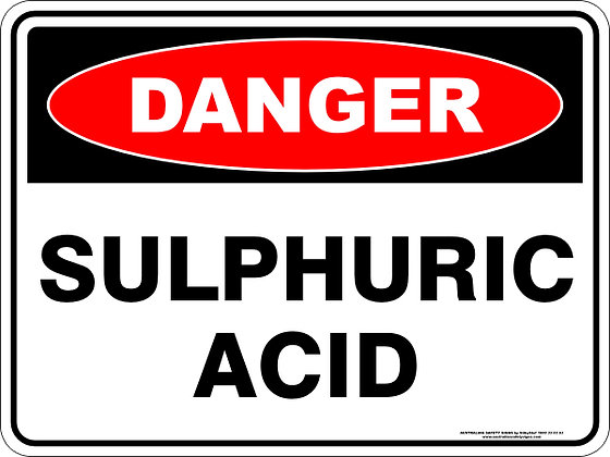 Sulphuric Acid Danger Sign