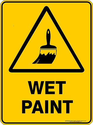 Wet Paint Hazard Warning Sign