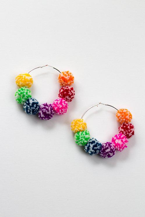 Rainbow Speckled Pom Pom Hoop Earring