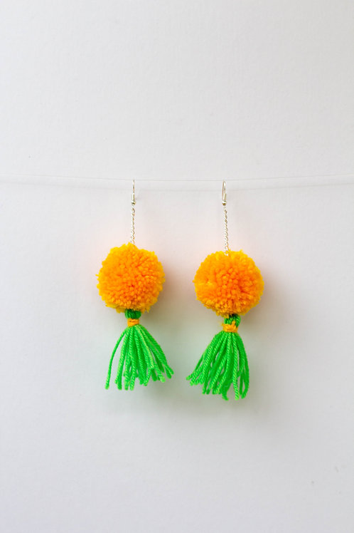 Yellow and Green Tassel Pom Pom Earrings
