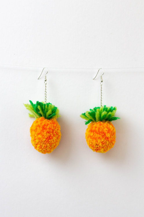 Pineapple Pom Pom Earrings