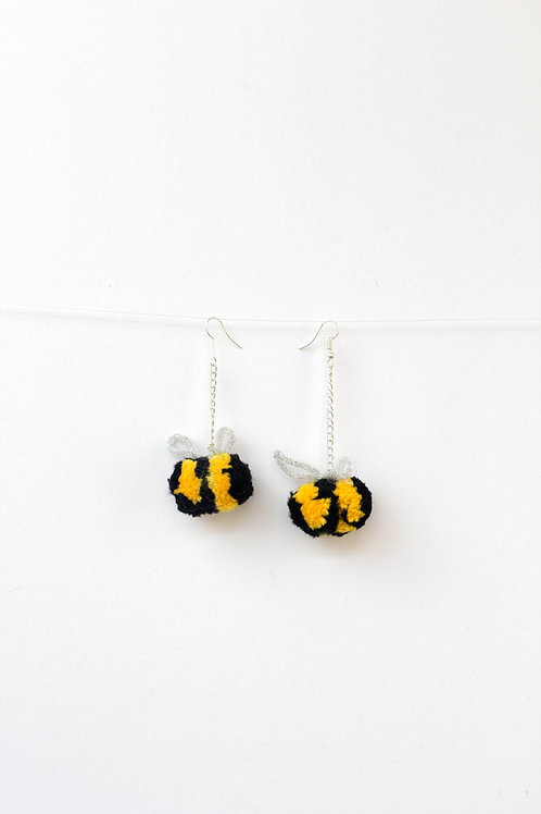 Bumble Bee Pom Pom Earrings