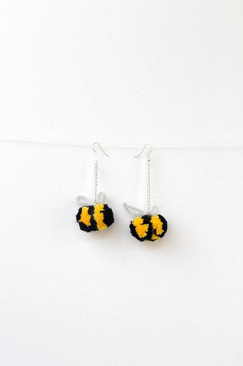 Bumble Bee Pom Pom Earrings