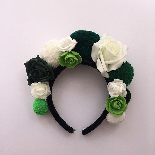 Green Rose Pom Pom Headband