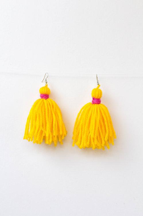 Large Yellow Tassel Earrings