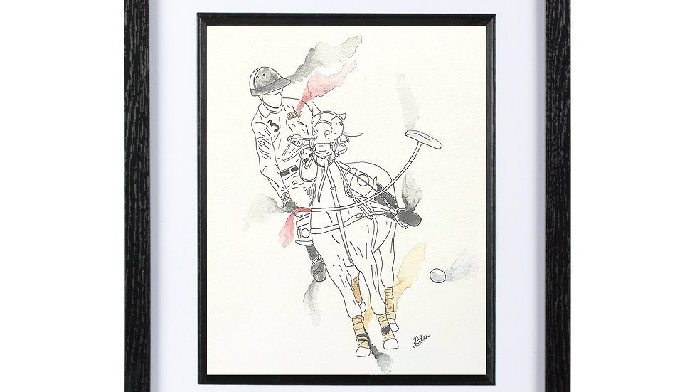 Polo Player Ink and Watercolour