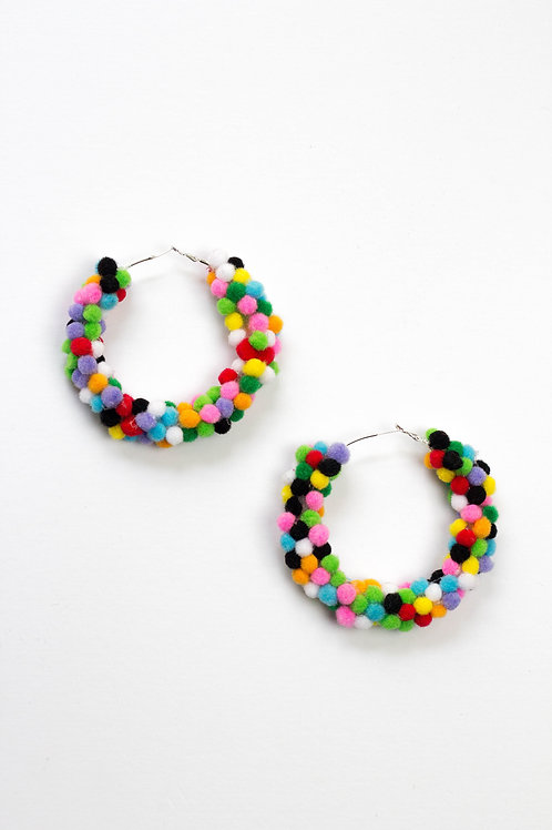 Giant Hoop Mini Pom Pom Earring