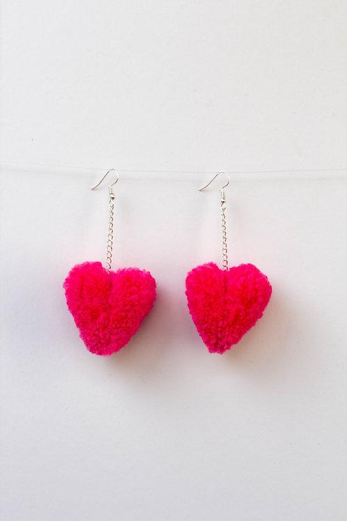 Pink Heart Pom Pom Earrings
