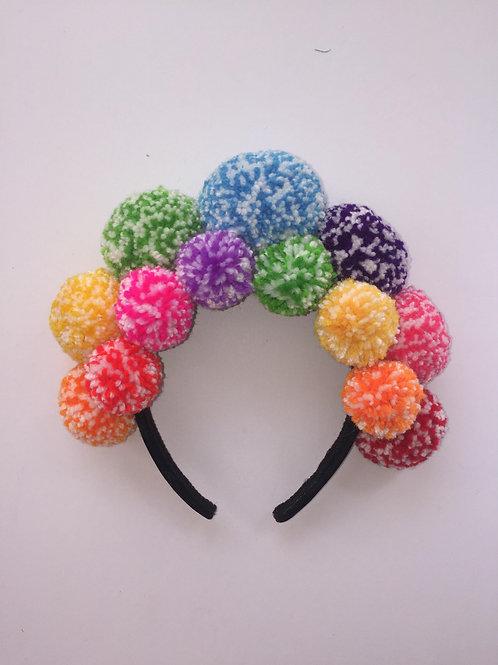 Rainbow Speckled Pom Pom Headband