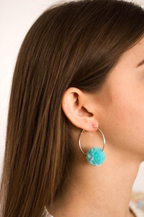 Mini Hoop Mint Pom Pom Earring