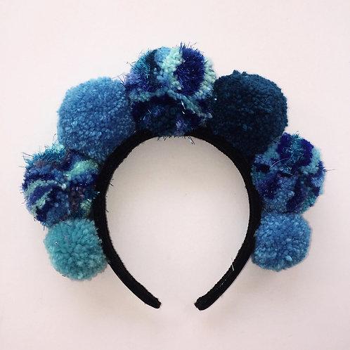 Ocean Blue Pom Pom Headband