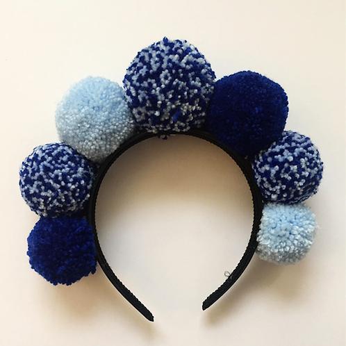 Blue SpeckledPom Pom Headband