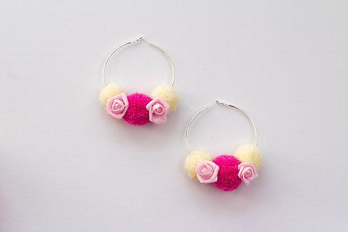 Pink Rose Pom Pom Hoops