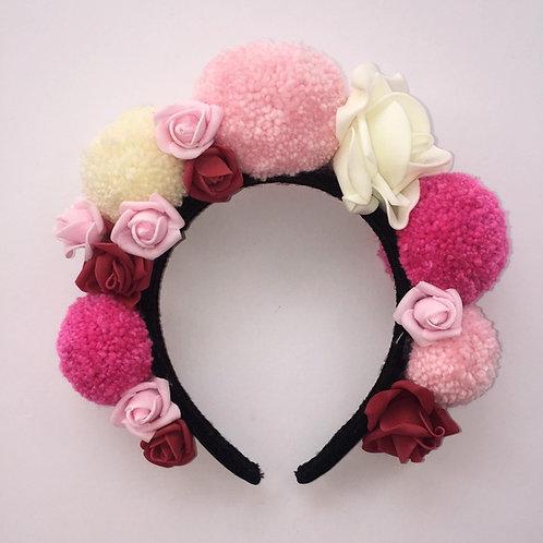 Pink Rose Pom Pom Headband 2