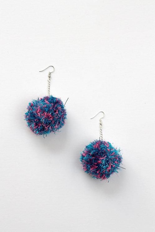 Glitter Pom Pom Earrings
