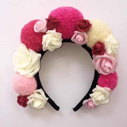 Pink Pom Pom and Roses Headband