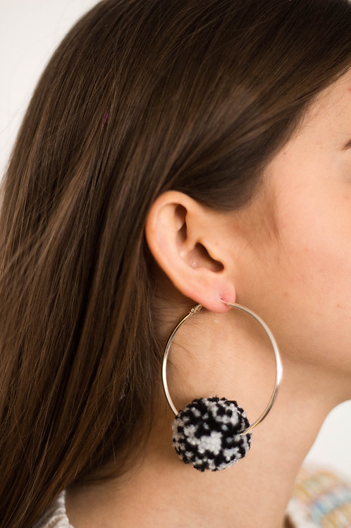 Medium Hoop Black and White Speckled Pom Pom Earring