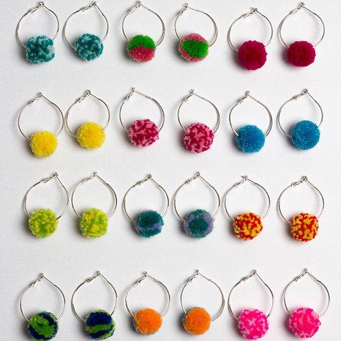 Small Pom Pom Hoop Earring