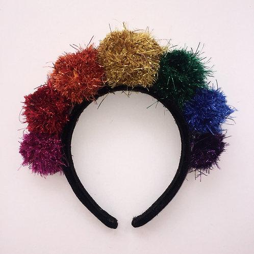 Glitter Rainbow Pom Pom Headband