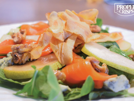 Pear & Blue Cheese Salad with Parsnip Crisps