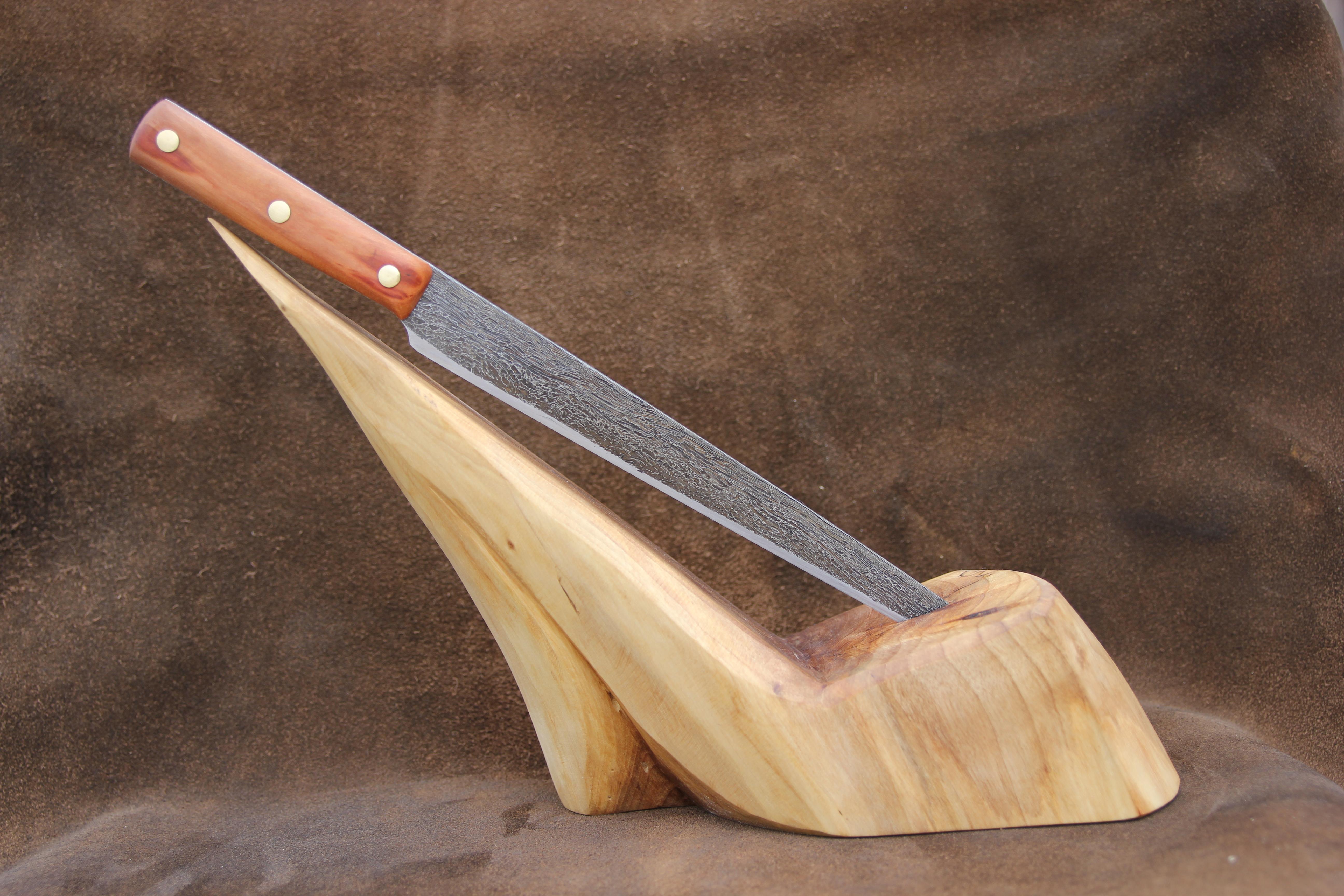 Damastmesser mit Messerblock