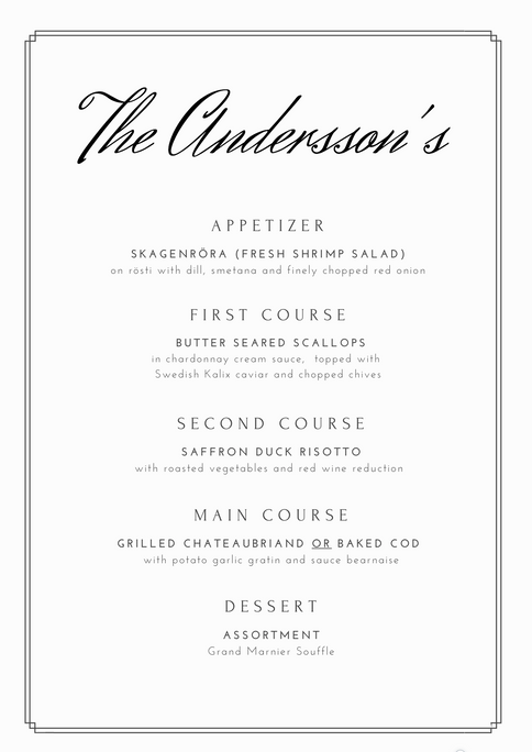Dinner Menu the Andersson's