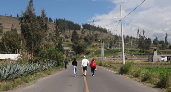 Volunteers walking