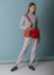 orange red leather handbag designer bucketbag