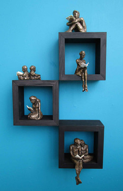 Cold cast bronzes on boxes