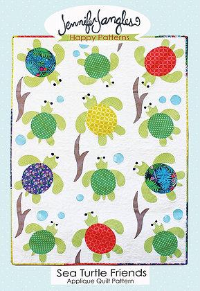Sea turtle Friends Applique Quilt Pattern by Jennifer Jangles Happy Patterns