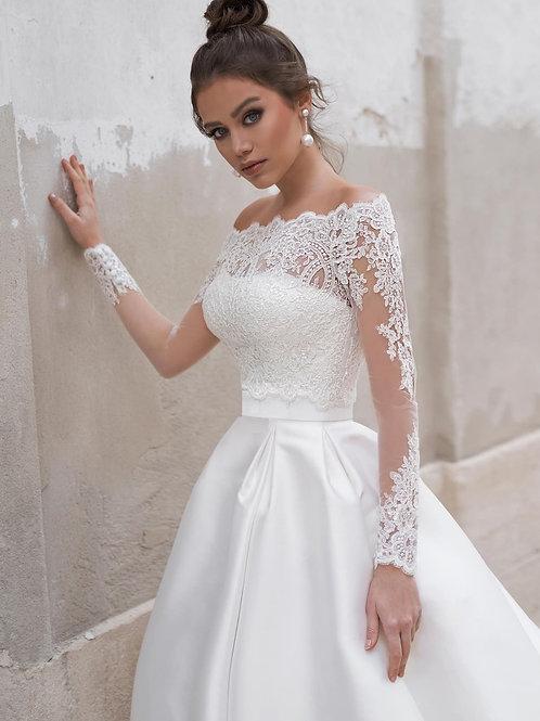 Пышное свадебное платье с кроп-топом Арт.032Б