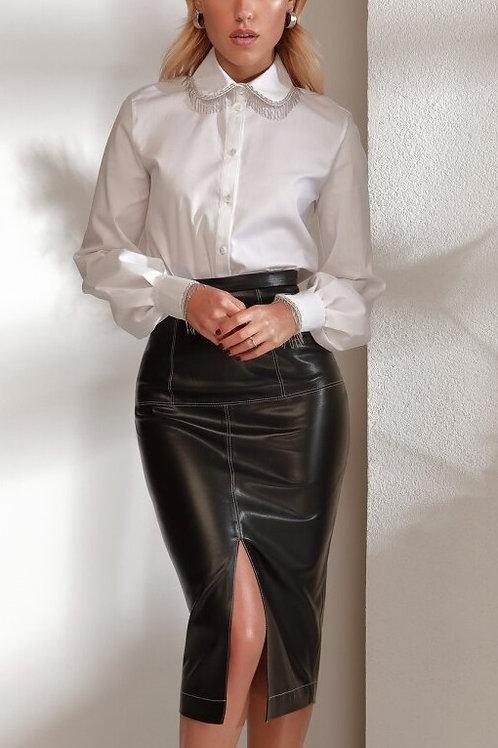 Кожаная юбка-миди