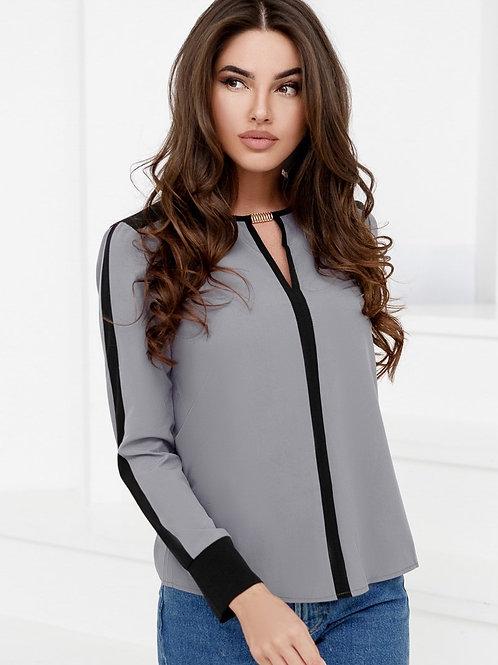 Контрастная шифоновая блуза