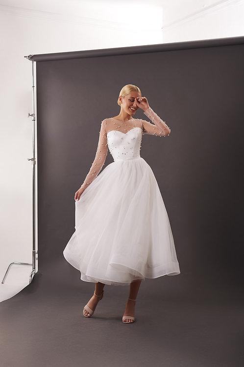 Свадебное платье- миди  Арт. 073