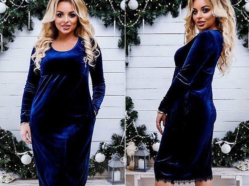 Мерцающее платье из бархата Арт.678