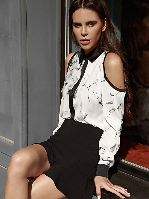 Двухцветная шелковая блуза