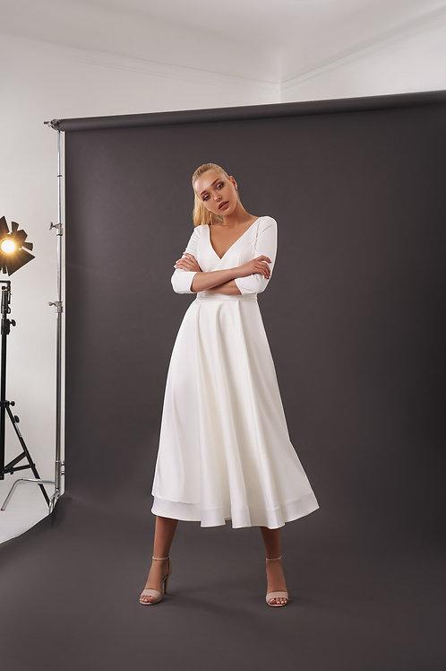 Лаконичное свадебное платье-миди Арт. 074