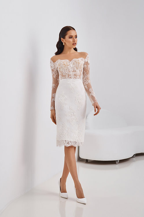 Короткое кружевное платье-футляр Арт. 065