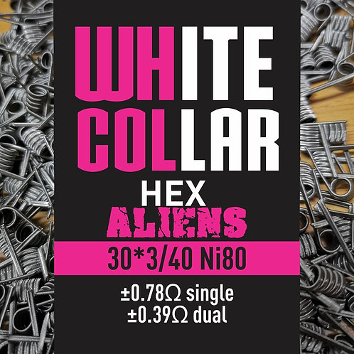 White Collar Hex Aliens 30*3/40 NI80